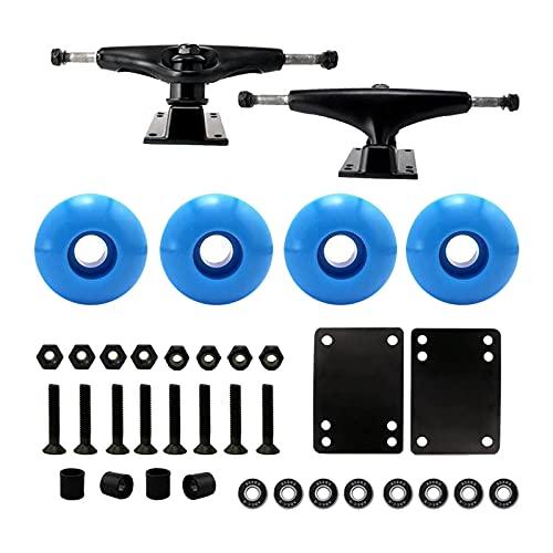 Sharplace Skateboard Zubehör Achsen 4 x Rollen 8 x Schrauben 8 x Muttern 8 x Lager 2 x Polster 4 x Buchsen zum Selber Gestalten als Geschenke für Mädchen Junge - Blau Rollen