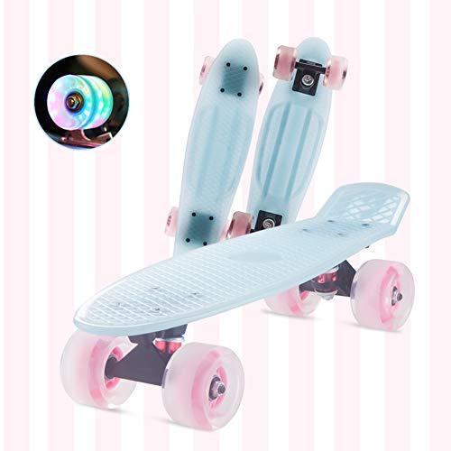 Komplettes Mini Cruiser Skateboard, Durchscheinendes Plastikbrett Und LED-Leuchträder Penny Board 57 cm X 15 cm Für Anfänger Jugend Teenager Teenager Mädchen Jungen (Warm Blue)