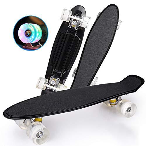 DUANYU Penny Board, 22 Zoll Pennyboard Pastel Skateboard Erwachsene Für Kinder, Tragbares Cruiser Skateboard Mit Leuchtendem Rad, Für Teenager Anfänger Mädchen Jungen (Cool Black)