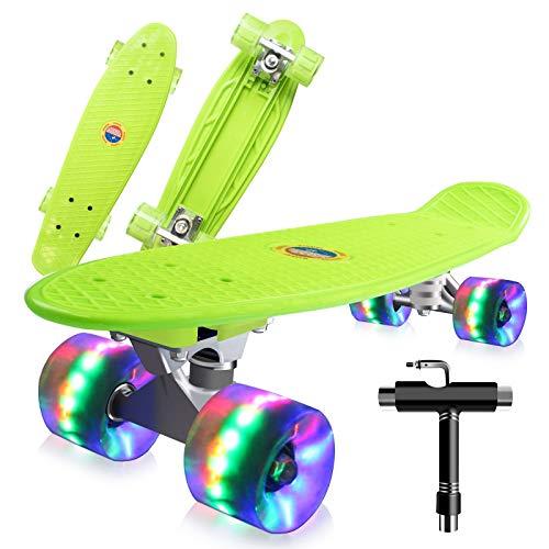 Saramond Skateboards Komplette 55cm Mini Cruiser Retro Skateboard für Kinder Teens Erwachsene Anfänger, Bunte LED-Räder mit All-in-One Skate T-Tool für Schule und Reisen (Grün)