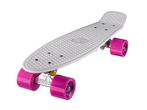Ridge Skateboard 55 cm Mini Cruiser Retro Stil In M Rollen Komplett U Fertig Montiert Weiss Rosa,
