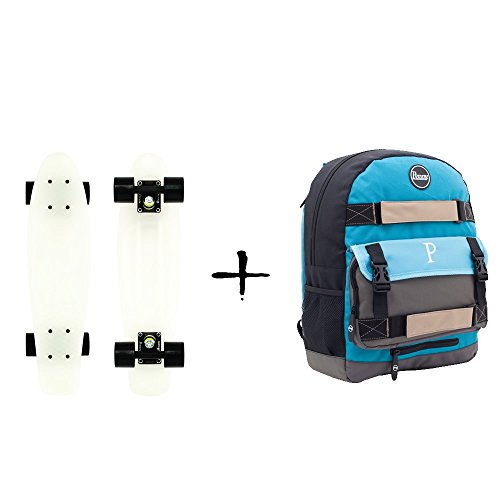 Penny Frühjahrsaktion 22' Complete Skateboard Glow in the dark Classic Backpack blue grey