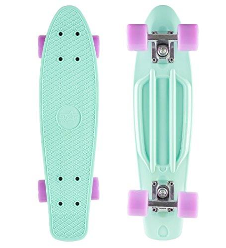 BIKESTAR Vintage Retro Cruiser Skateboard 60mm für Kinder und Erwachsene auch Anfänger ab ca. 6-8 Jahre | Mint & Lila