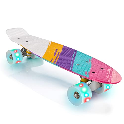 ANIMILES 22' Skateboard für Kinder, Komplettes Skateboard für Mädchen Jungen mit bunten LED-Rädern, Mini Cruiser Retro Skateboard für Anfänger (Farbenfroh)