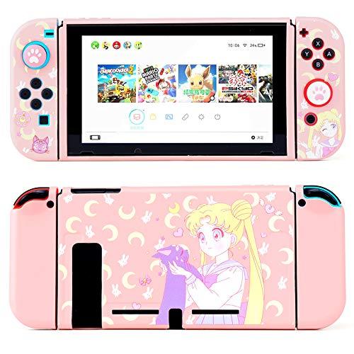 LightPro Süße Schutzhülle für Nintendo Switch – Weiche schlanke Griff-Abdeckung Schale für Konsole und Joy-Con mit Displayschutzfolie, Daumengriff, Anti-Scratch (Sailor Moon)