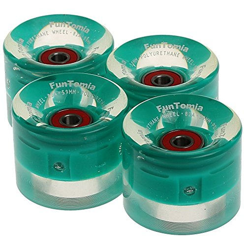FunTomia 4X Miniboard/Skateboard LED Rollen 59x45mm inkl. MACH1 Kugellager Härtegrad 82A