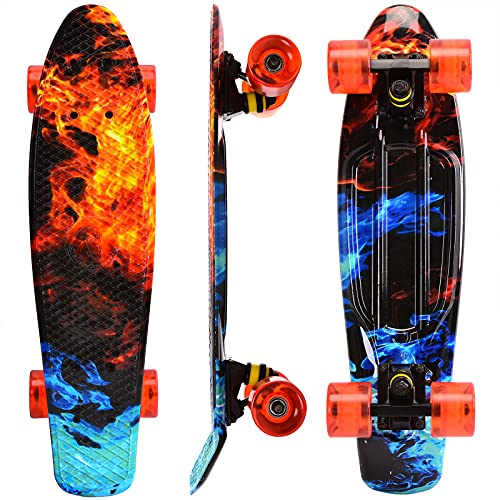 WonderTech Penny Board Jungs Mini Skateboard 22 Zoll,Cruiser Board Mädchen und Jugendliche 55 cm