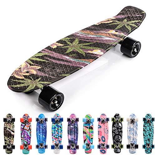 meteor Skateboard Kinder - Mini Cruiser Kickboard - Skateboard mädchen Rollen Board - Kunststoff Skateboards Deck - Retro Skateboard Jungen Mini Board - Skateboard Kinder miniboard (Flowers Black)